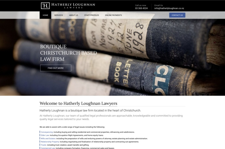 website design for Hatherly Loughnan Lawyers