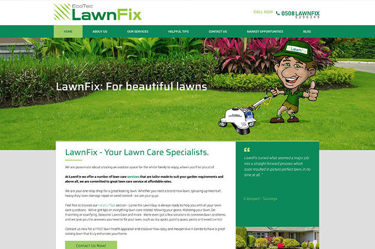 website design for lawnfix christchurch