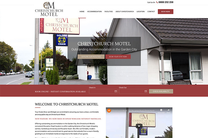website design for Christchurch motel