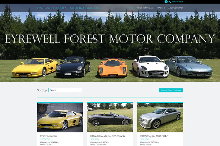 website design for eyrewell forest motor company