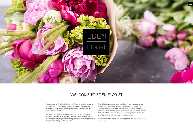 website design for eden florist Christchurch
