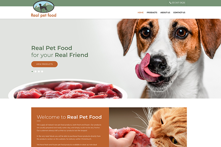 website design for real pet food Christchurch
