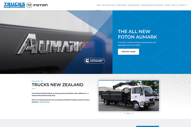 website design for trucks New Zealand
