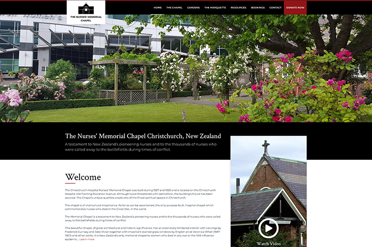 website design for Christchurch Nurses Memorial Chapel