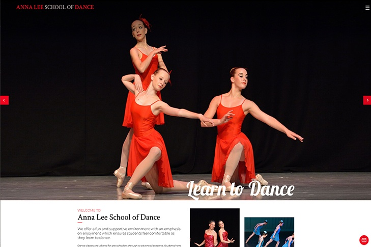 Christchurch web design for Anna Lee school of dance